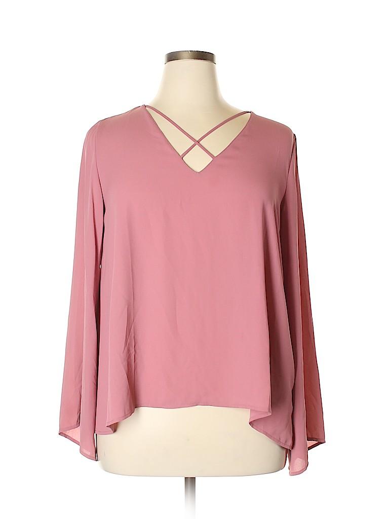 Lush Women Long Sleeve Blouse Size L