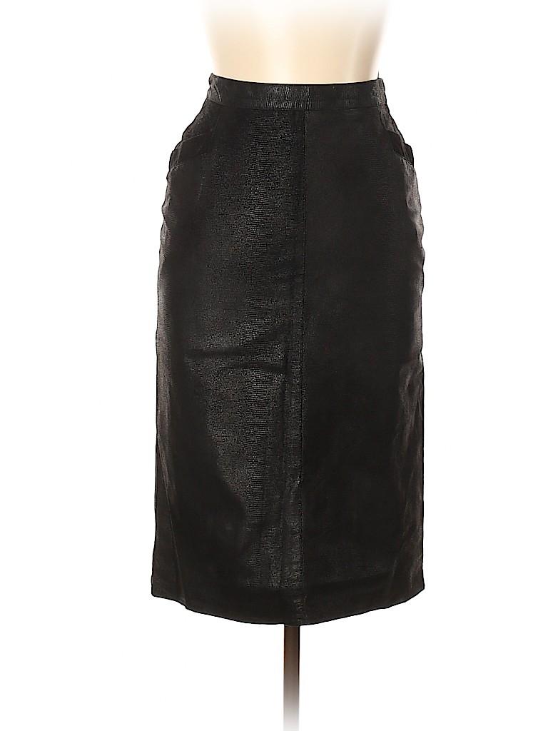 Krizia Women Faux Leather Skirt Size 46 (IT)