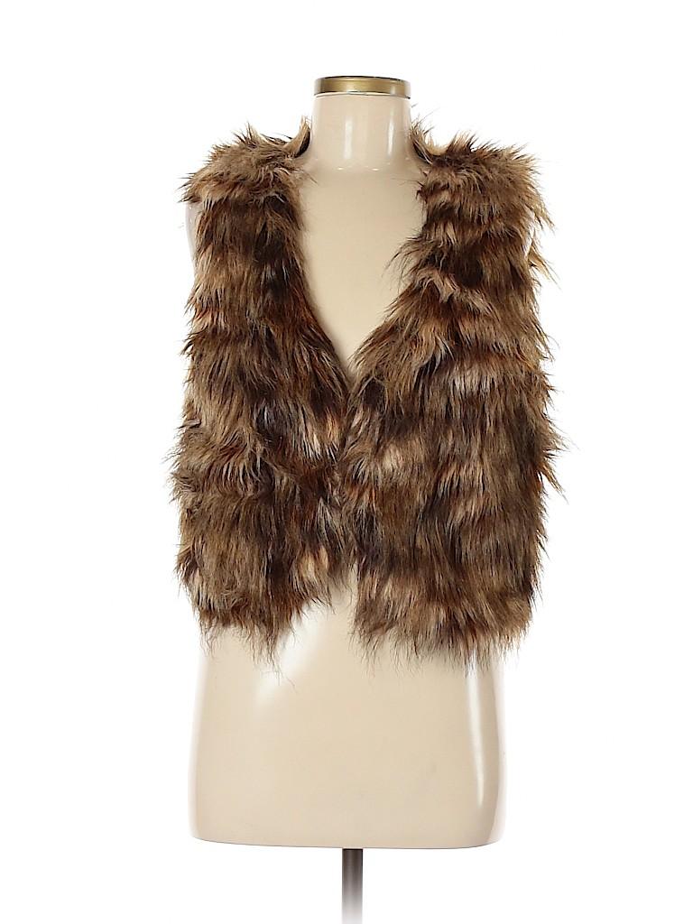 Icing Women Faux Fur Vest Size Med - Lg