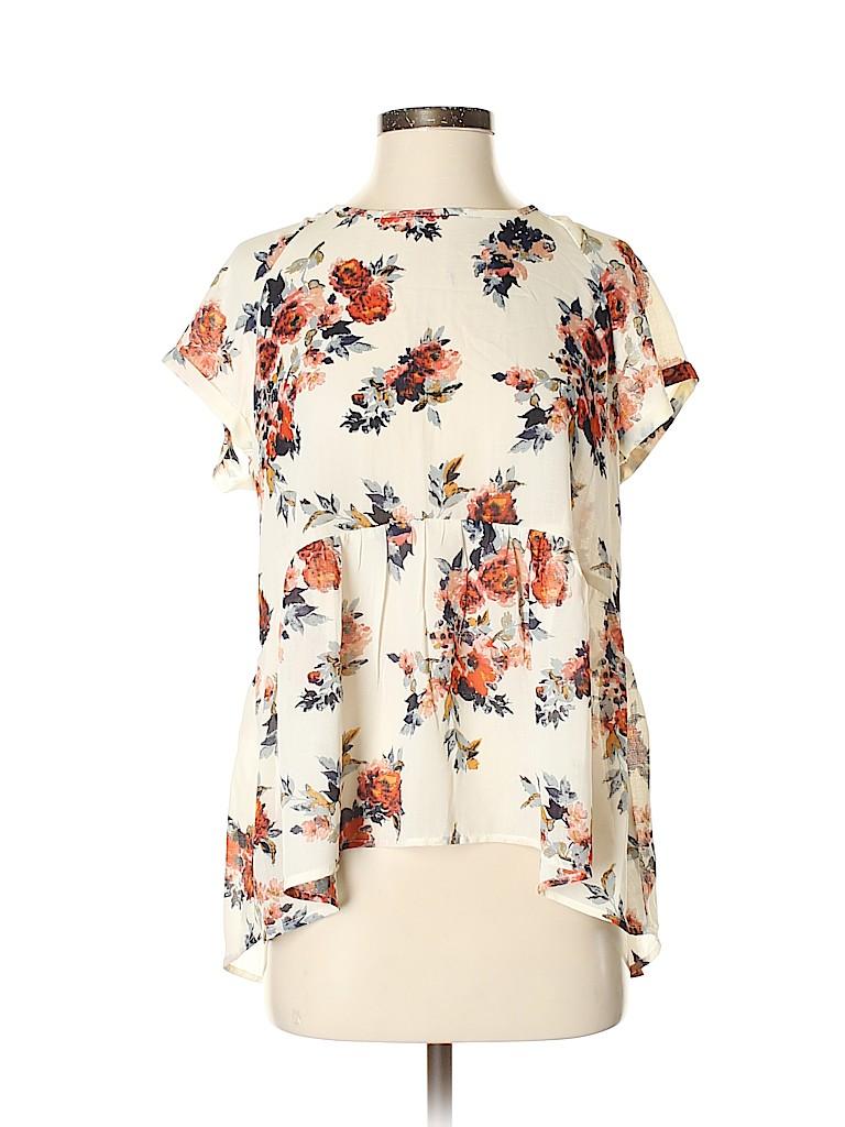 Xhilaration Women Short Sleeve Blouse Size M