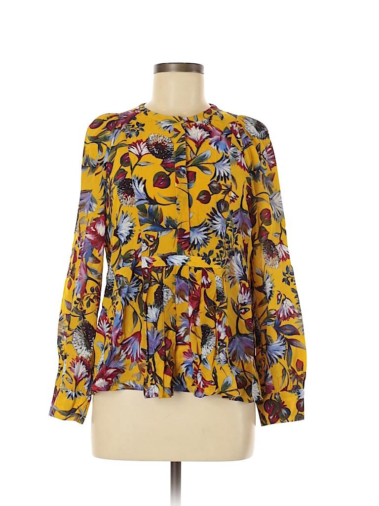J. Crew Women Long Sleeve Silk Top Size M
