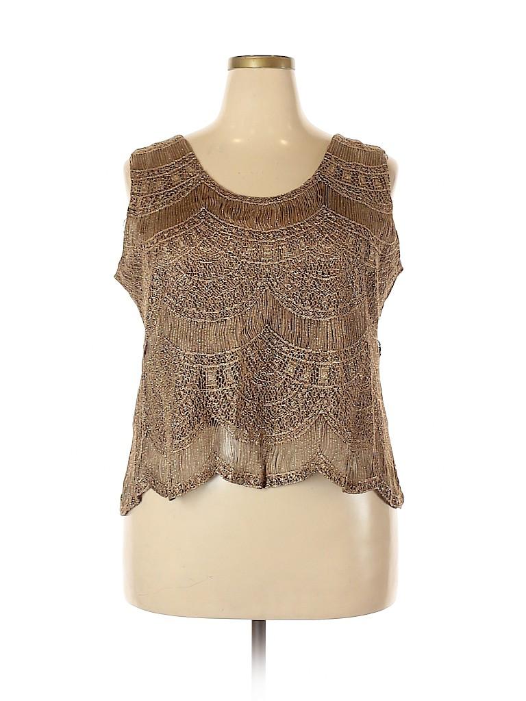 Damianou Women Sleeveless Blouse Size 2X (Plus)