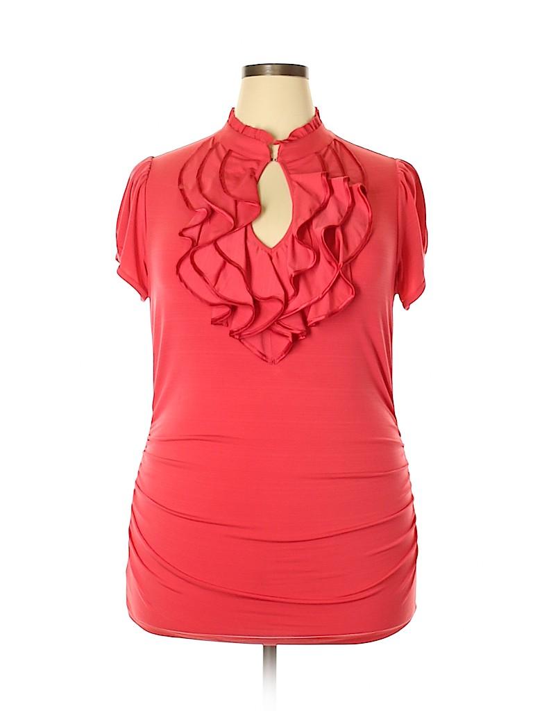 Three Hearts Women Short Sleeve Top Size 2X (Plus)