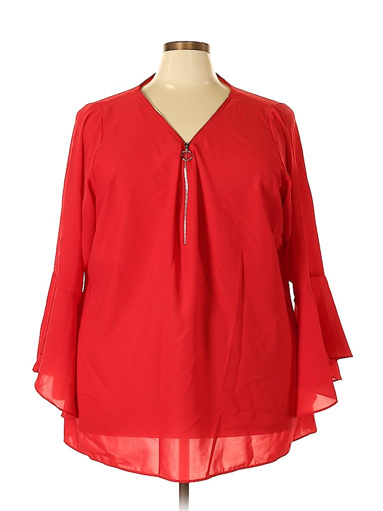 City Chic Women Long Sleeve Blouse Size XXL (Plus)