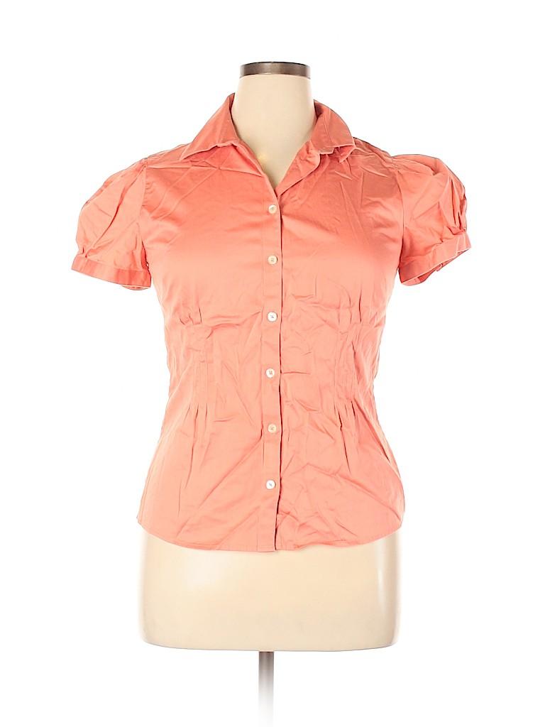 Banana Republic Women Short Sleeve Button-Down Shirt Size L
