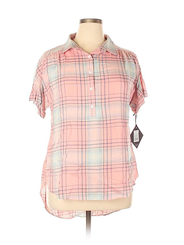 Ava & Viv Women Short Sleeve Button-Down Shirt Size 0X (Plus)