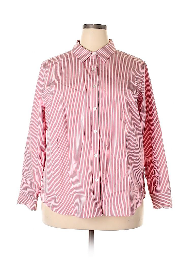Talbots Women 3/4 Sleeve Button-Down Shirt Size 22 (Plus)