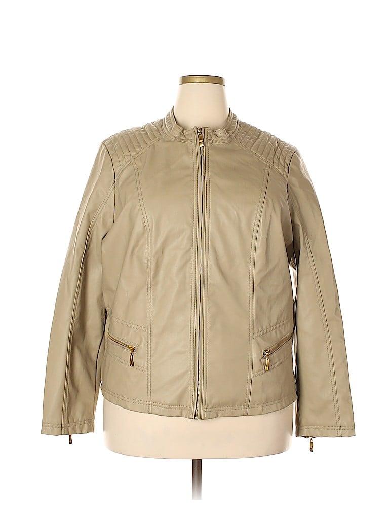 Ashley Stewart Women Faux Leather Jacket Size 3X (Plus)