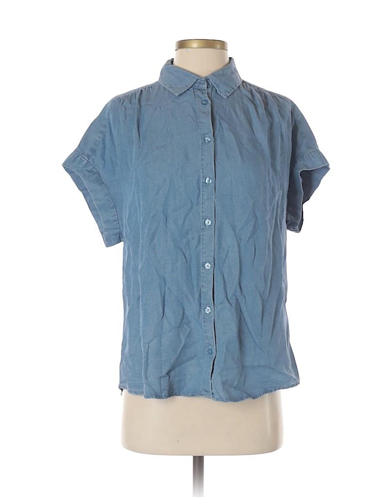 Everly Women Short Sleeve Button-Down Shirt Size S
