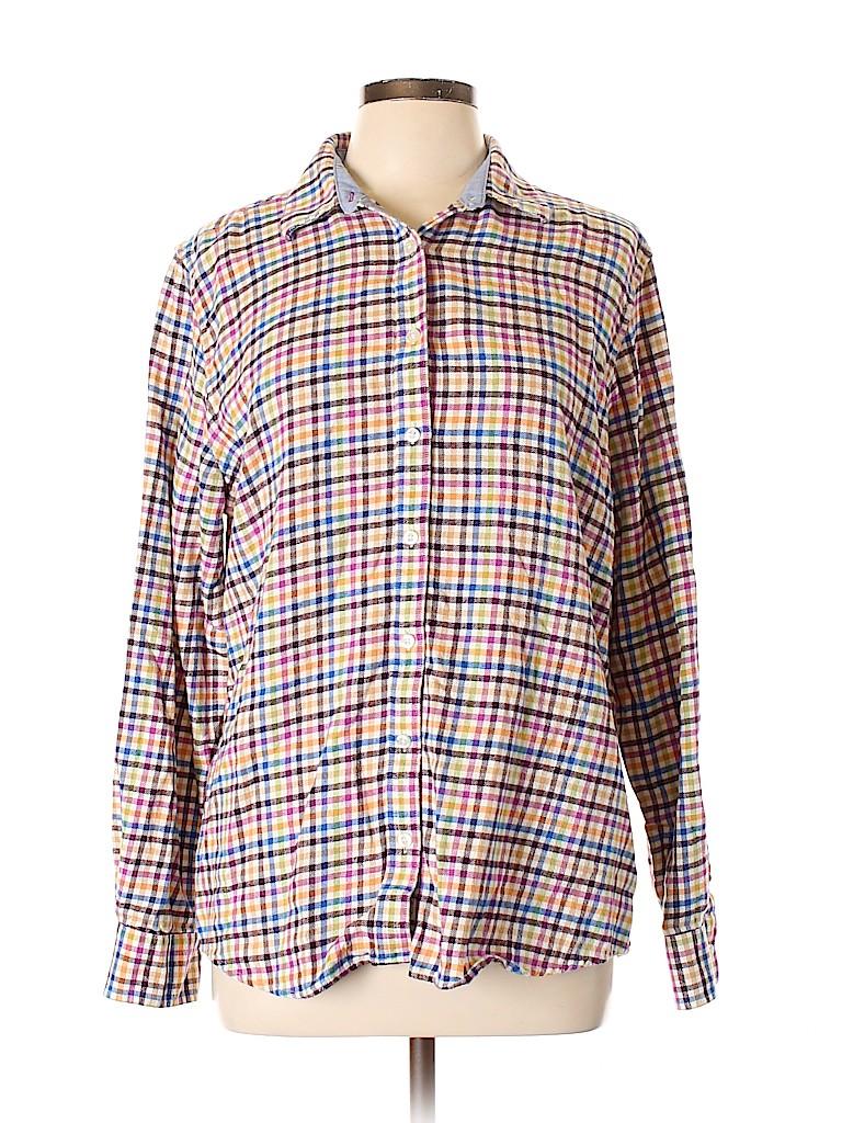 Lands' End Women Long Sleeve Button-Down Shirt Size L
