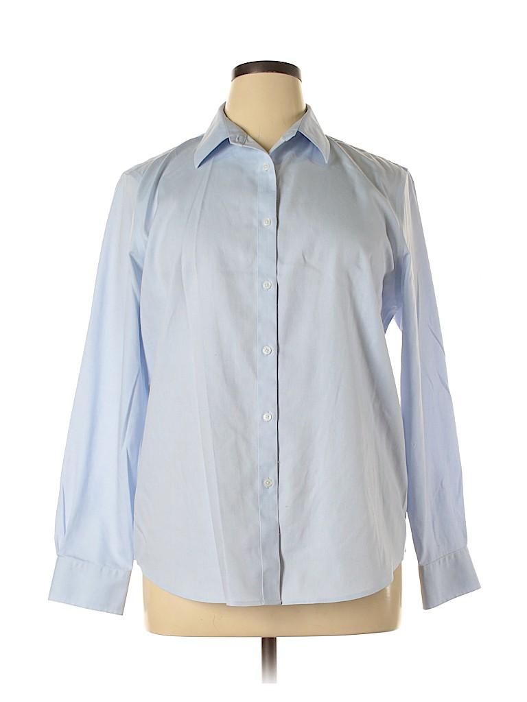 Jones New York Signature Women Long Sleeve Button-Down Shirt Size XL