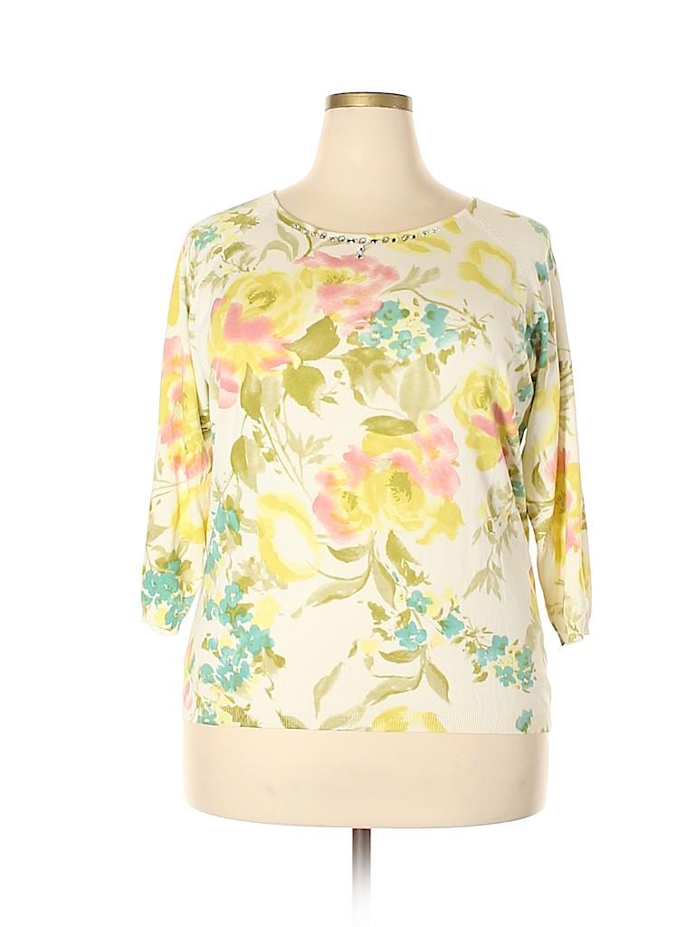 Emma James Women Silk Pullover Sweater Size 2X (Plus)