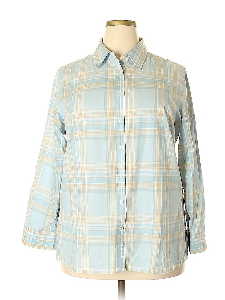 Jones New York Signature Women Long Sleeve Button-Down Shirt Size 2X (Plus)