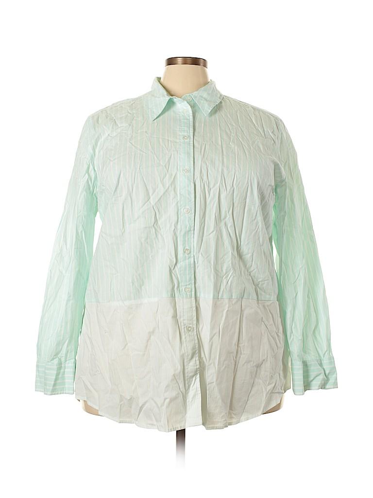 Lane Bryant Women Long Sleeve Button-Down Shirt Size 24 (Plus)
