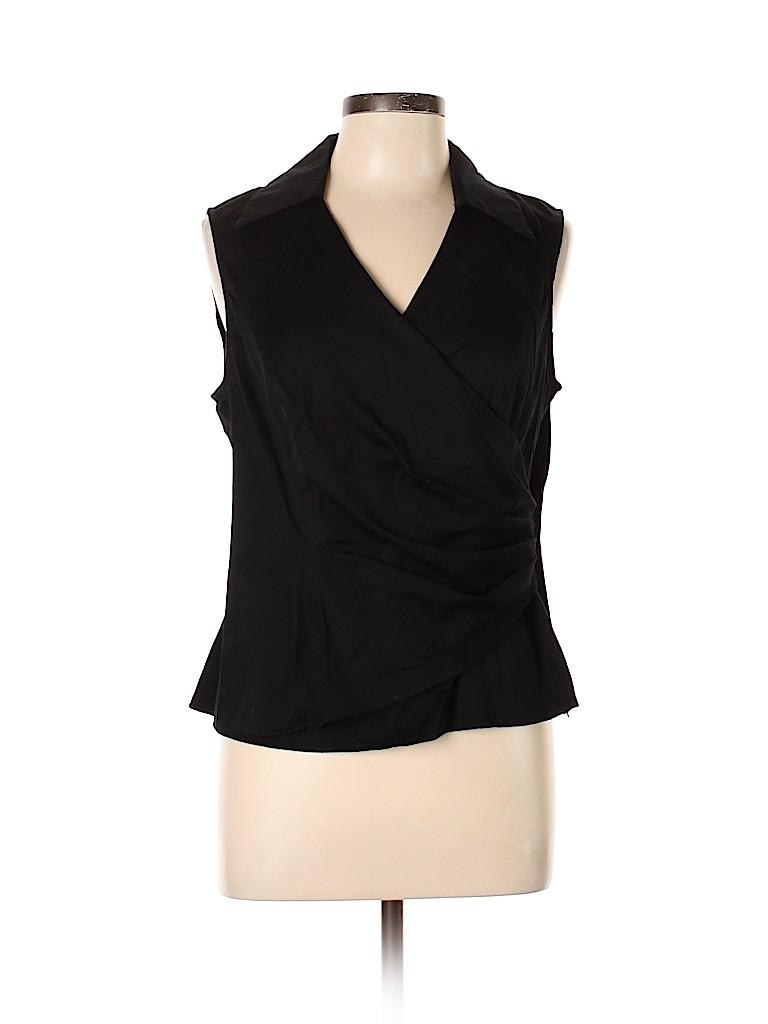 Jones New York Signature Women Sleeveless Button-Down Shirt Size L