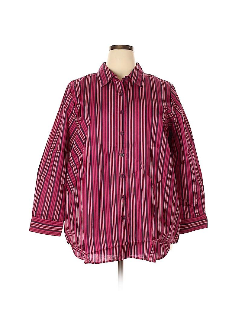 Roaman's Women Long Sleeve Button-Down Shirt Size 22 (1X) (Plus)