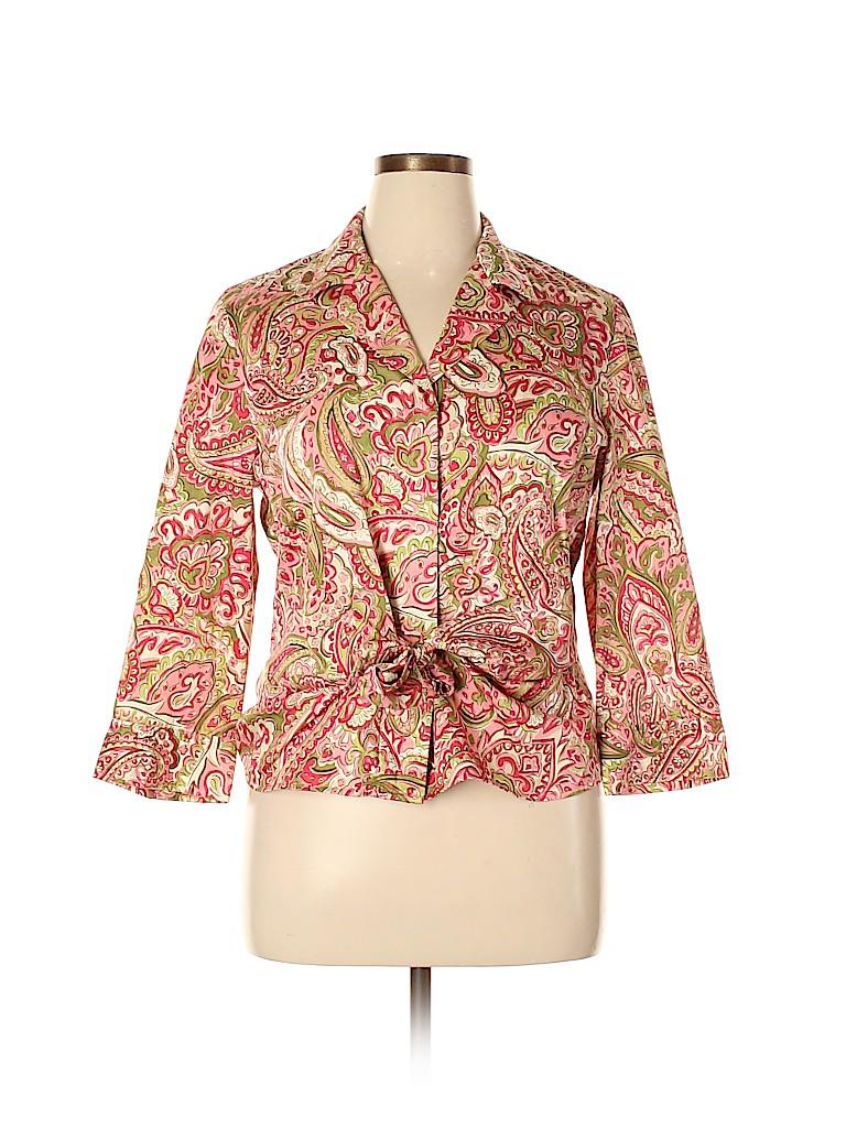 Jones New York Signature Women 3/4 Sleeve Button-Down Shirt Size XL