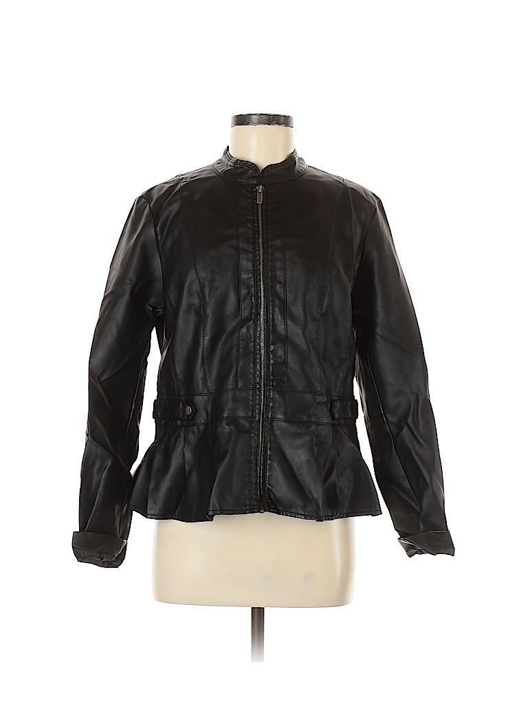 Baccini Women Faux Leather Jacket Size L
