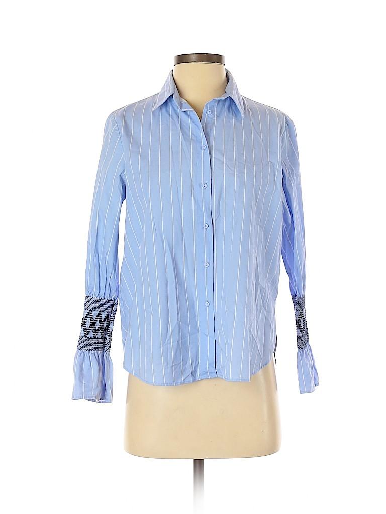 Zara Basic Women Long Sleeve Button-Down Shirt Size S