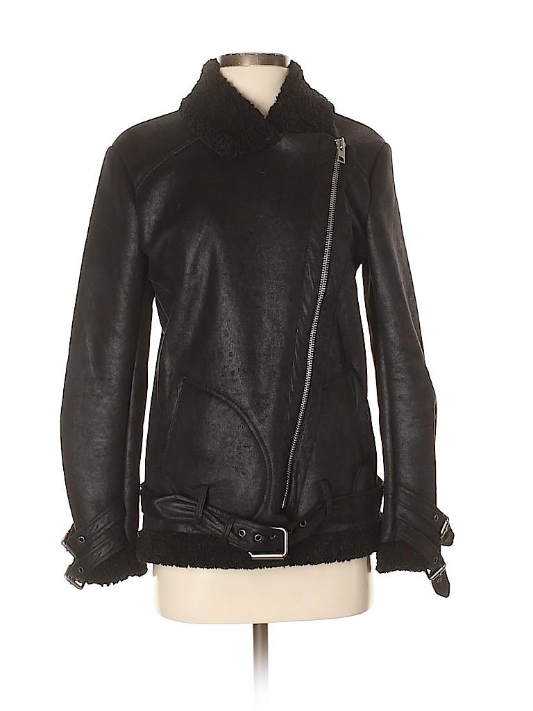 Ann Taylor Women Faux Leather Jacket Size S