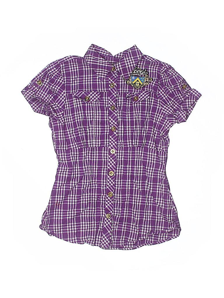 Coogi Girls Short Sleeve Button-Down Shirt Size L (Youth)