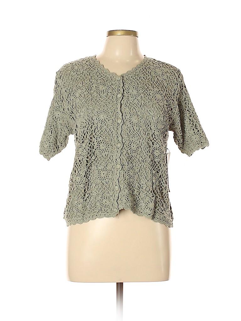 Halston Women Silk Cardigan Size L