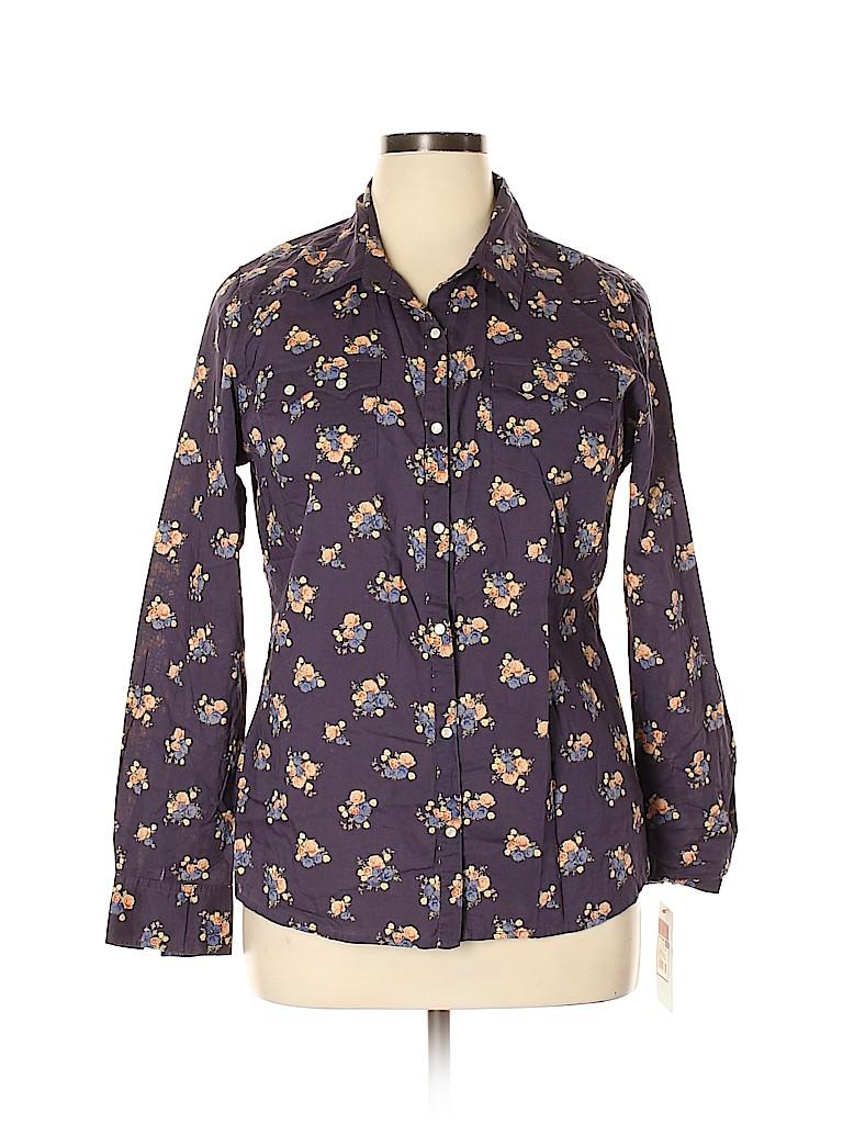 Mossimo Women Long Sleeve Button-Down Shirt Size XL