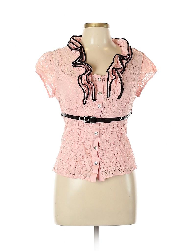 Heart Soul Women Short Sleeve Button-Down Shirt Size L