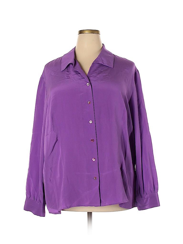 Doncaster Women Long Sleeve Silk Top Size 24 (Plus)