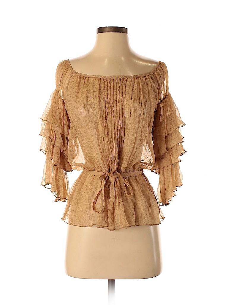 Class Roberto Cavalli Women 3/4 Sleeve Silk Top Size 4