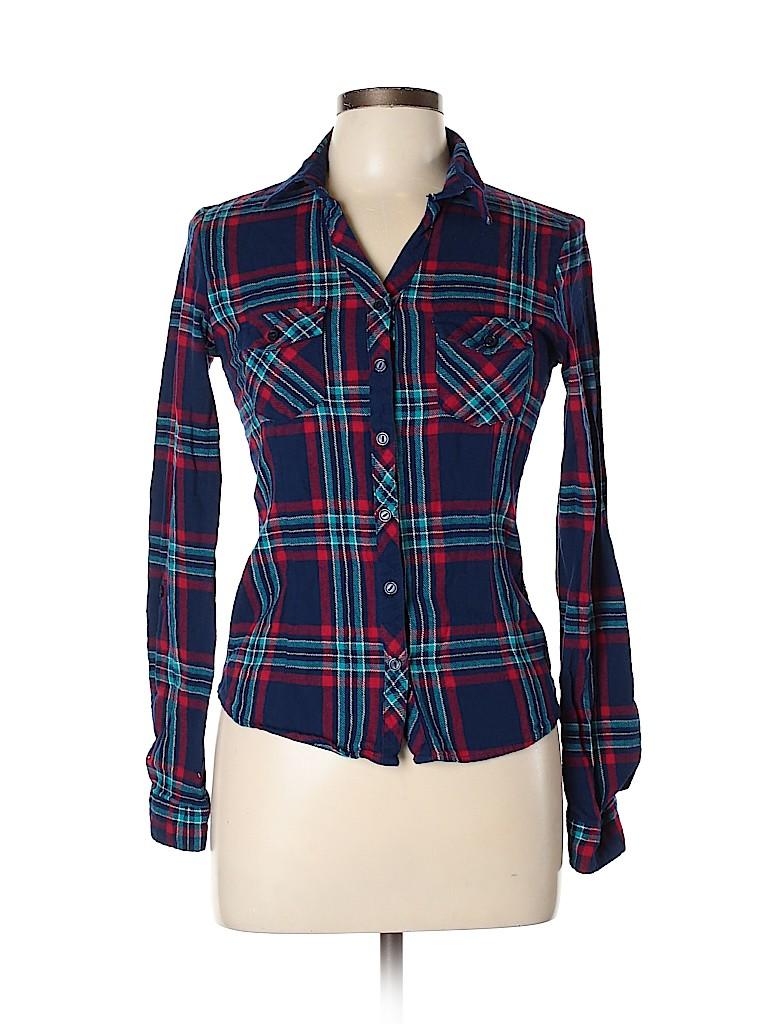 Derek Heart Women Long Sleeve Button-Down Shirt Size M