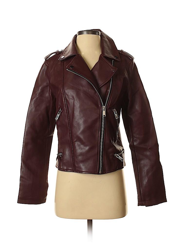 Mango Women Faux Leather Jacket Size S