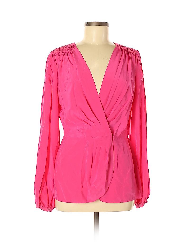 BCBGMAXAZRIA Women Long Sleeve Silk Top Size M