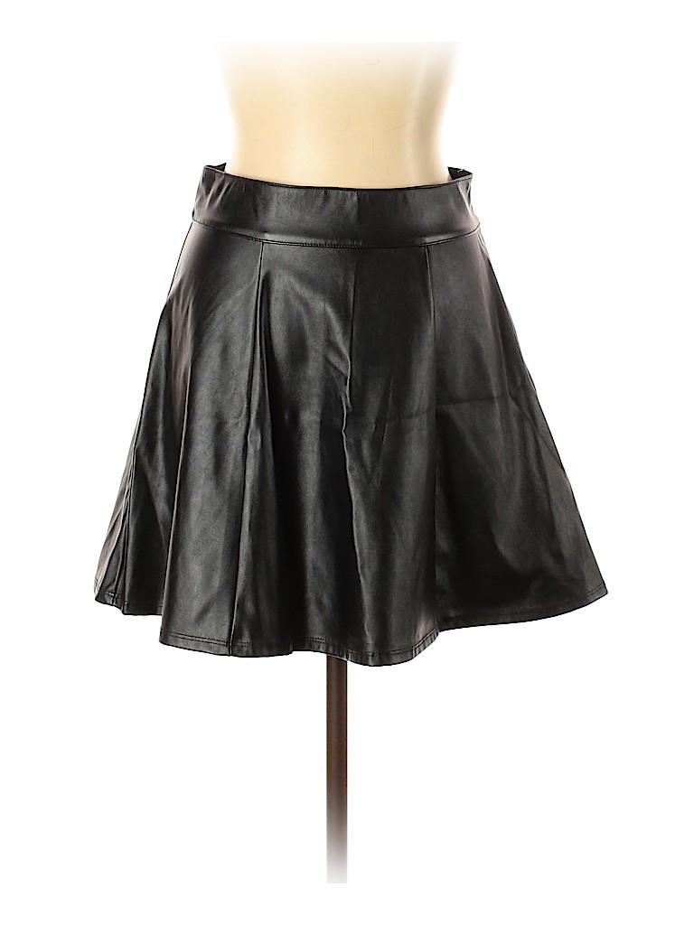Socialite Women Faux Leather Skirt Size L