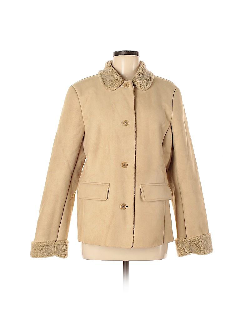 Lands' End Women Faux Leather Jacket Size L