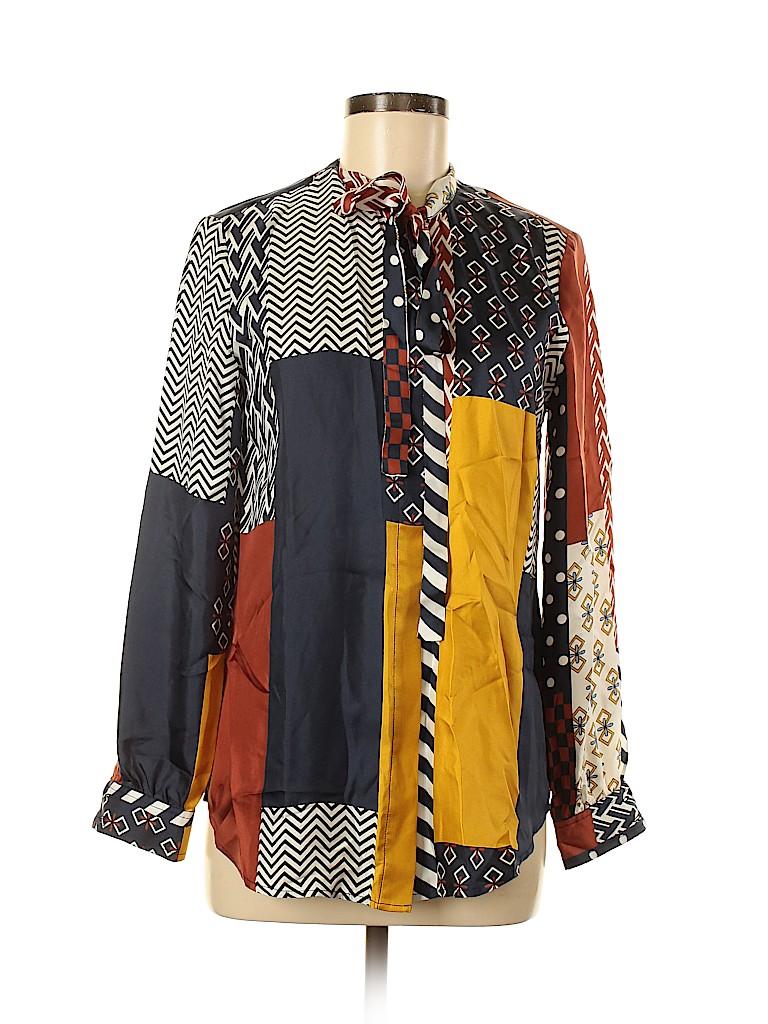 Tory Burch Women Long Sleeve Silk Top Size 6