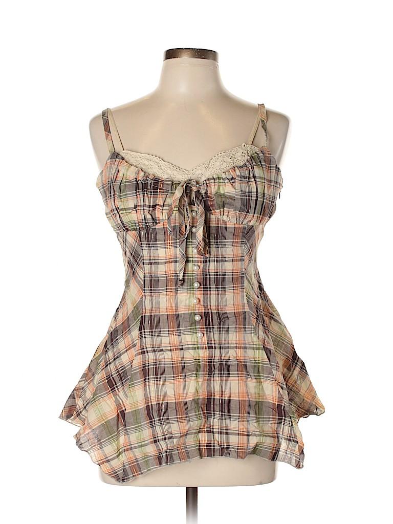 Candie's Women Sleeveless Button-Down Shirt Size M