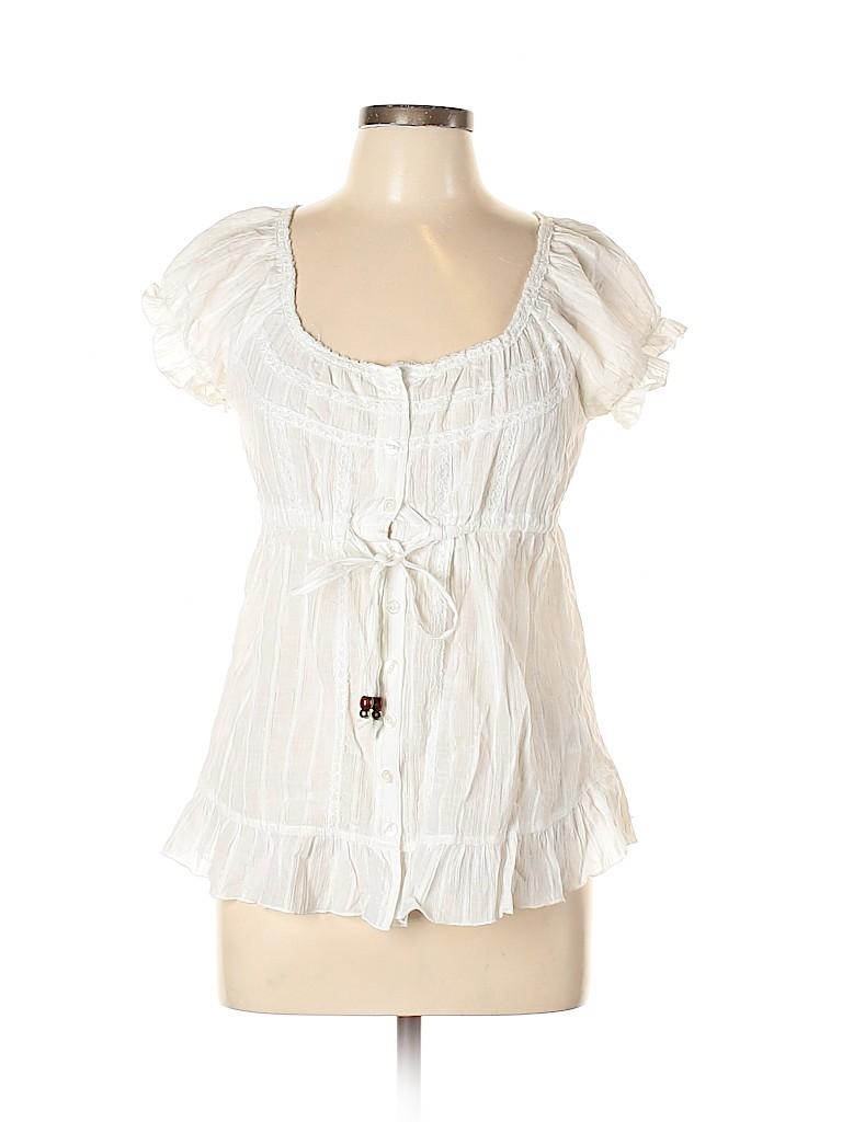Candie's Women Short Sleeve Button-Down Shirt Size M