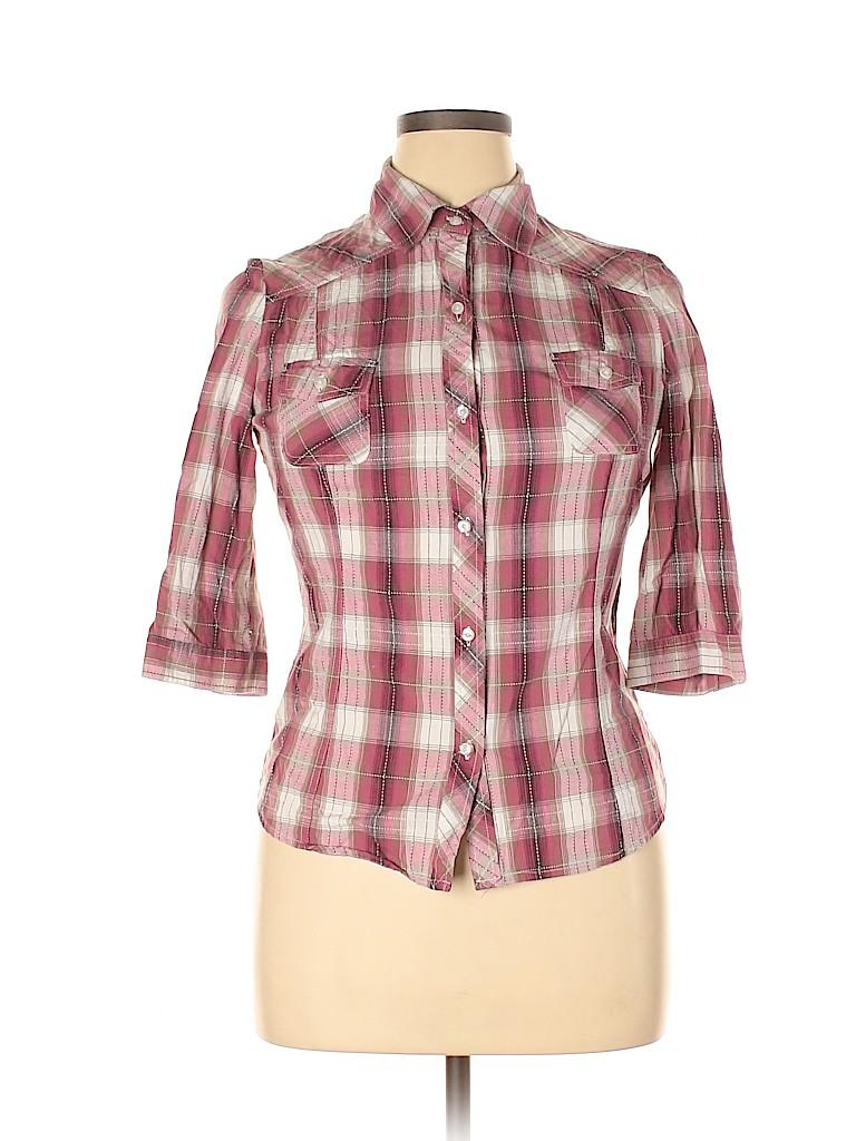 Mudd Women 3/4 Sleeve Button-Down Shirt Size XL