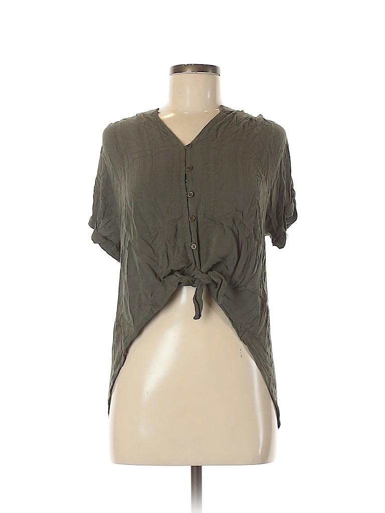 Universal Thread Women Short Sleeve Button-Down Shirt Size M