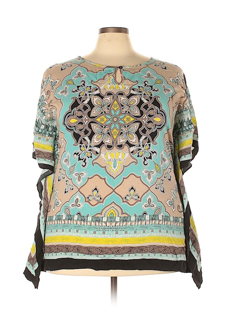 Style&Co Women Short Sleeve Blouse Size 1X (Plus)