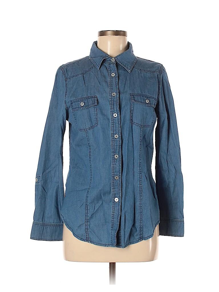 Hannah Women Long Sleeve Button-Down Shirt Size M