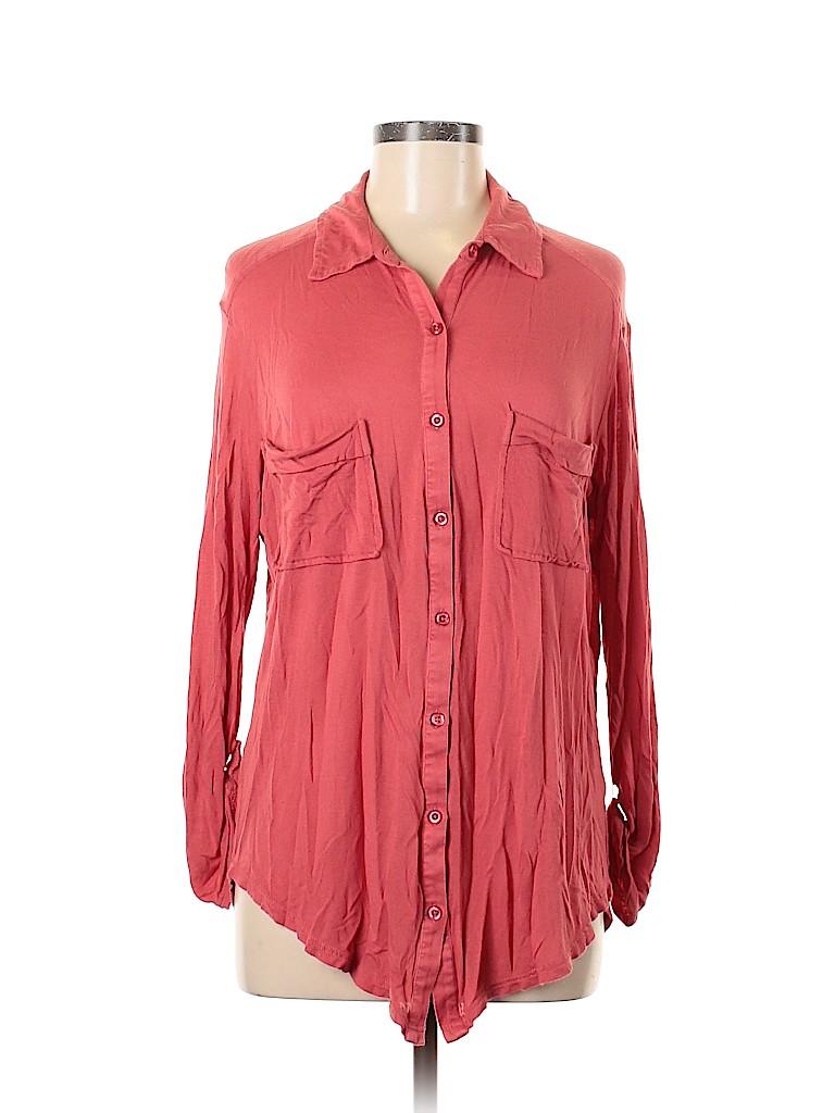 Frenchi Women Long Sleeve Button-Down Shirt Size M