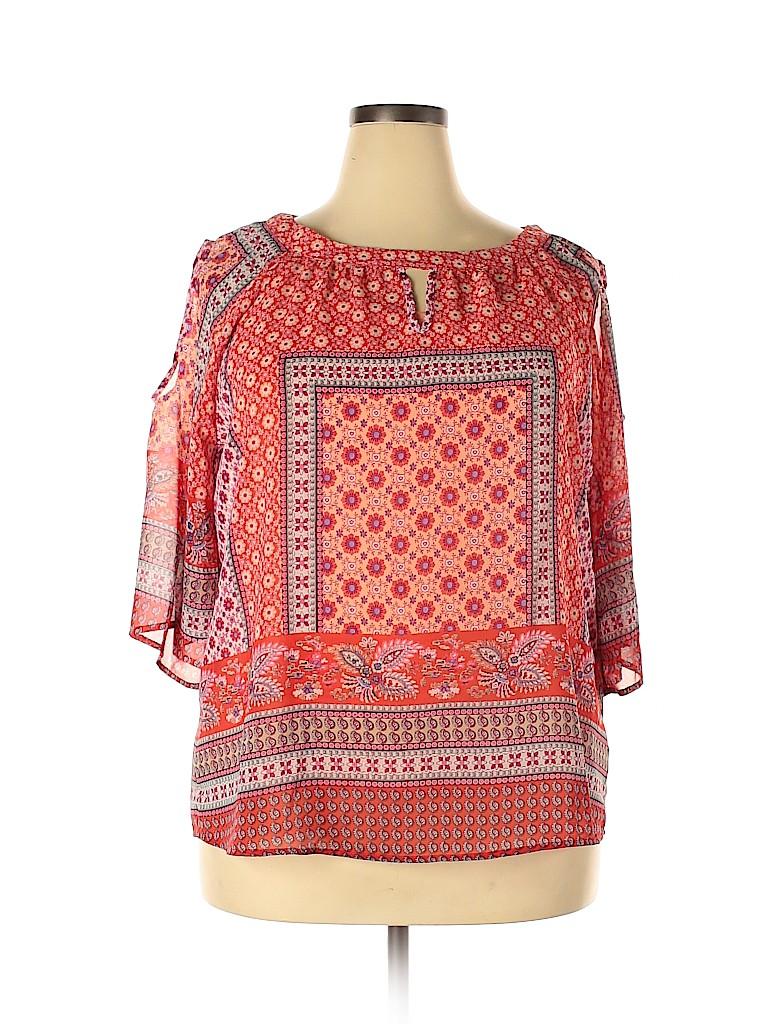 DressBarn Women Short Sleeve Blouse Size 1X (Plus)