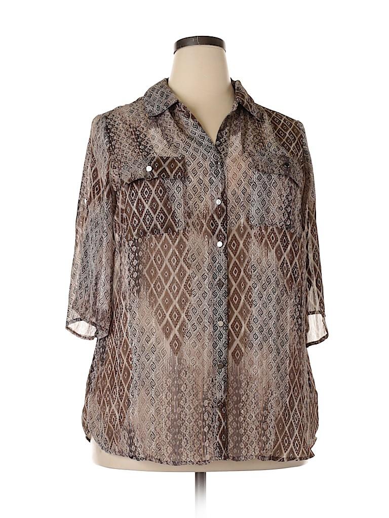 DressBarn Women 3/4 Sleeve Blouse Size 2X (Plus)