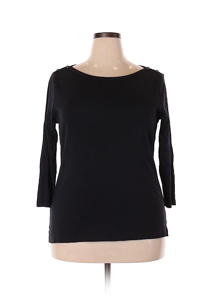 Lands' End Women 3/4 Sleeve T-Shirt Size 18 (Plus)