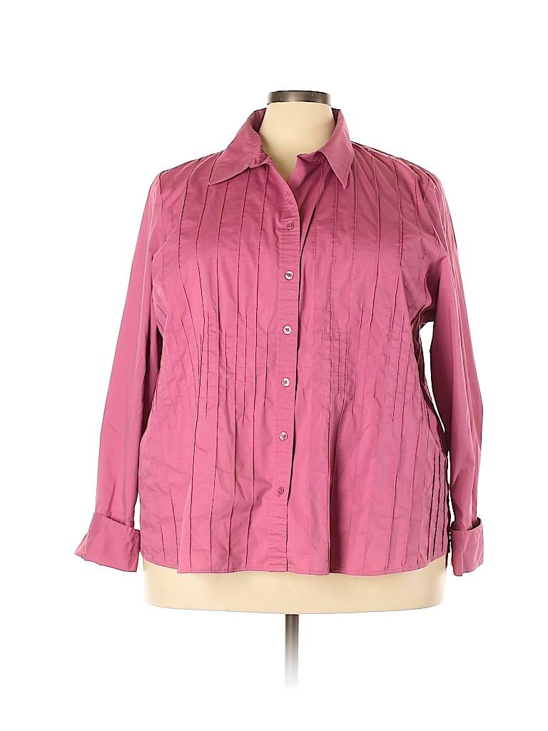 Lane Bryant Women Long Sleeve Button-Down Shirt Size 28 - 26 Plus (Plus)