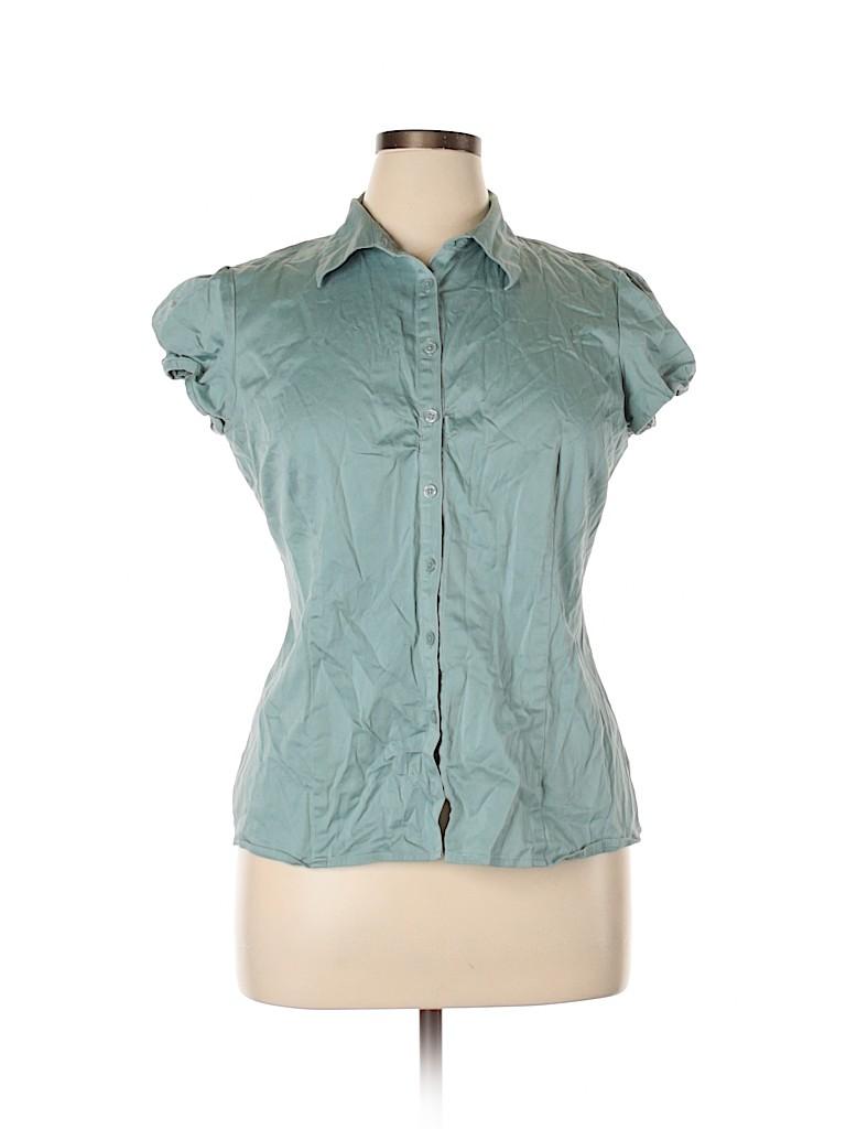 Van Heusen Studio Women Short Sleeve Button-Down Shirt Size XL