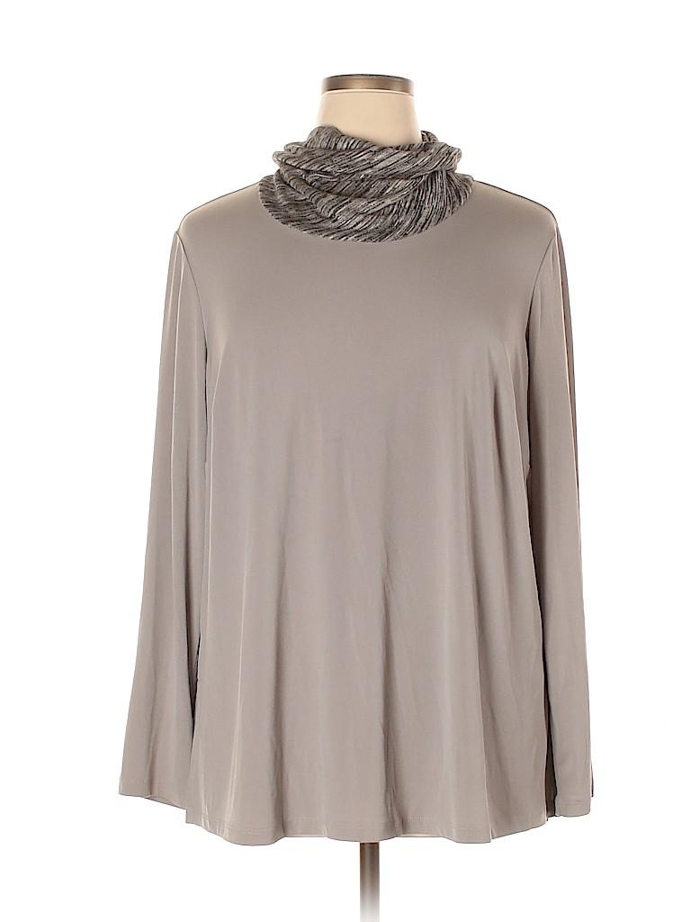 Susan Graver Women Long Sleeve Top Size 1X (Plus)