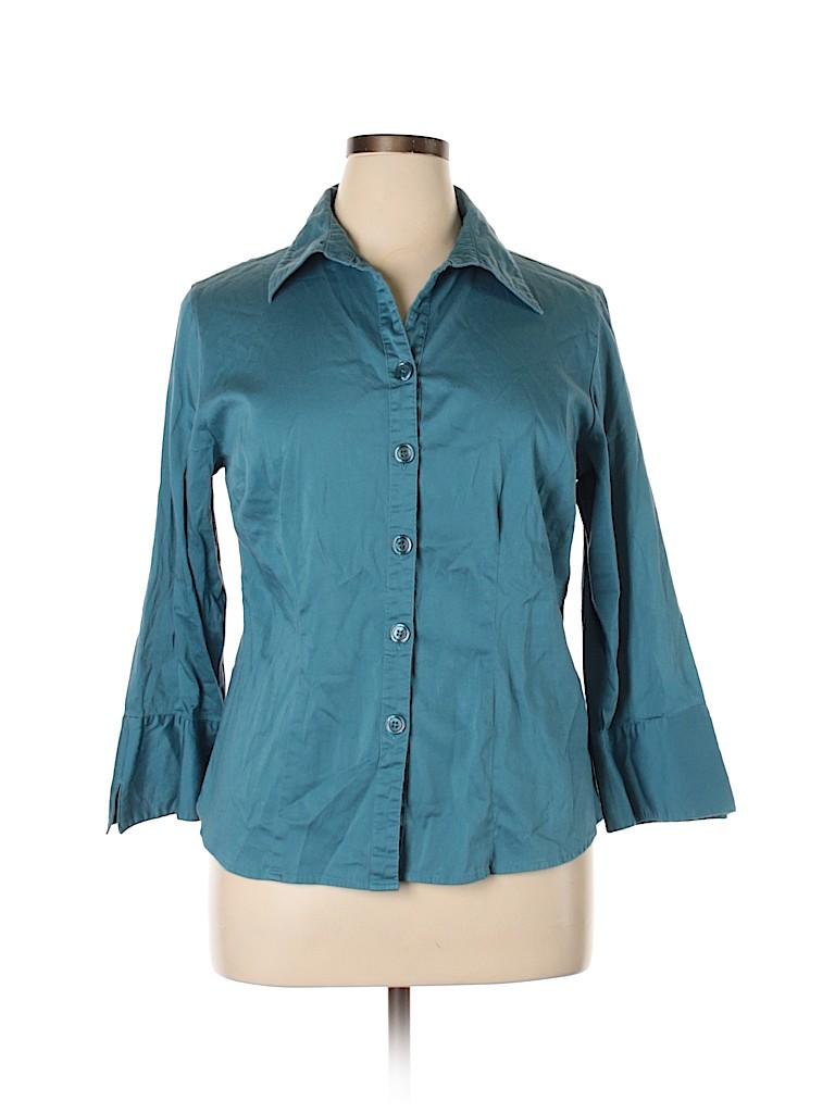 DressBarn Women Long Sleeve Button-Down Shirt Size 14